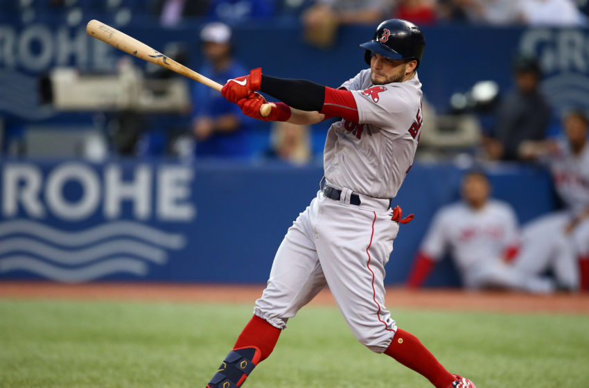 TORONTO, ON - SEPTEMBER 12: Andrew Benintendi #16 of the Boston Red Sox strikes out swinging in the second inning during a MLB game against the Toronto Blue Jays at Rogers Centre on September 12, 2019 in Toronto, Canada. (Photo by Vaughn Ridley/Getty Images)