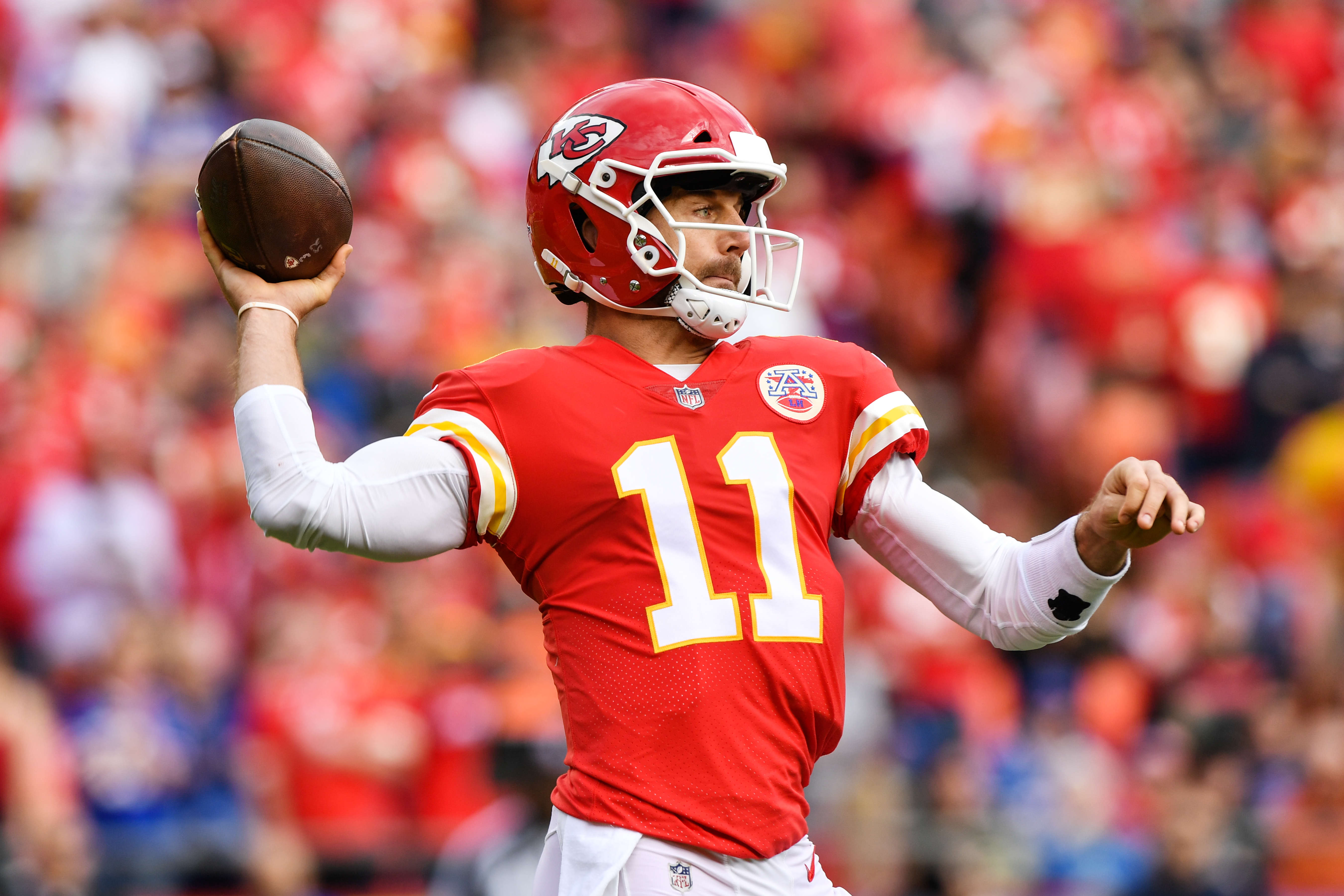 KANSAS CITY, MO - NOVEMBER 26: Quarterback Alex Smith #11 of the Kansas City Chiefs throws a pass against the Buffalo Bills during the first quarter of the game at Arrowhead Stadium on November 26, 2017 in Kansas City, Missouri. (Photo by Jamie Squire/Getty Images)