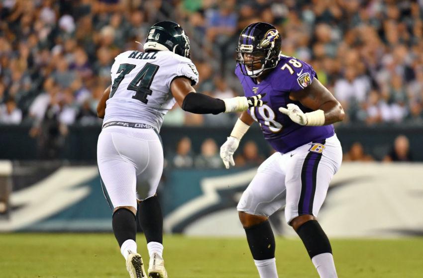 Aug 22, 2019; Philadelphia, PA, USA; Baltimore Ravens offensive tackle Orlando Brown (78) blocks Philadelphia Eagles defensive end Daeshon Hall (74) at Lincoln Financial Field. Mandatory Credit: Eric Hartline-USA TODAY Sports